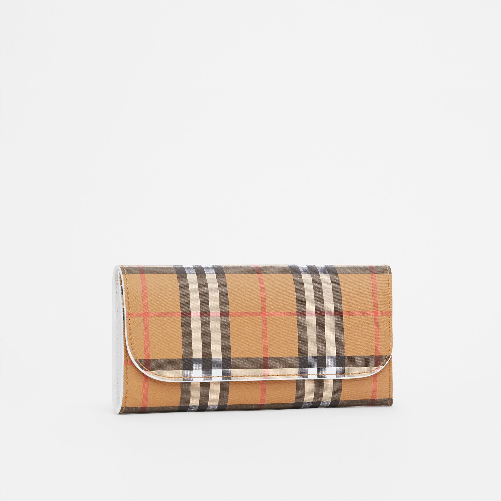 Vintage Check and Leather Continental Wallet in Chalk White - Women | Burberry Canada - gallery image 4
