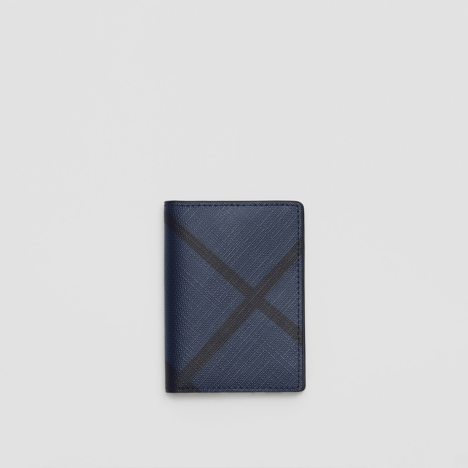 London Check and Leather Folding Card Case in Navy/black - Men | Burberry Canada - gallery image 0