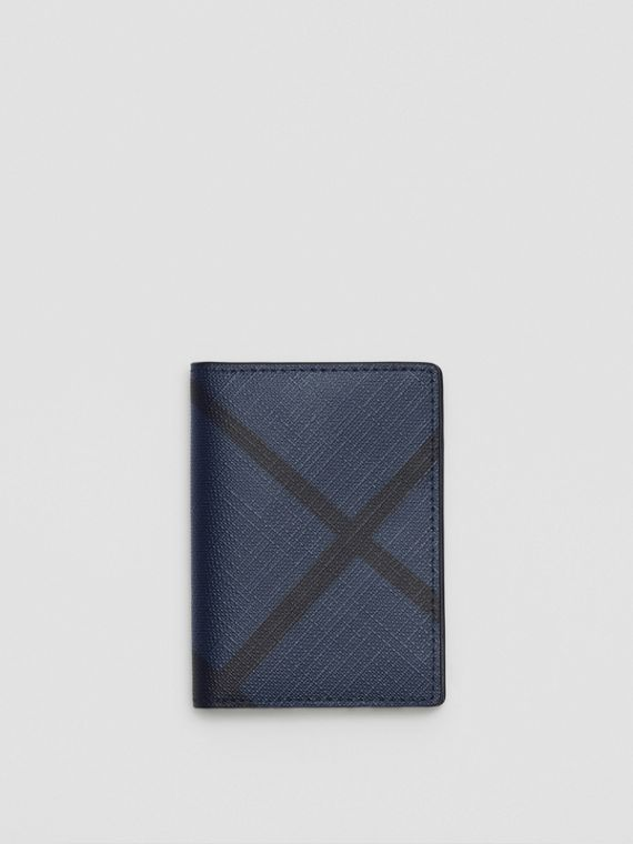 London Check and Leather Folding Card Case in Navy/black