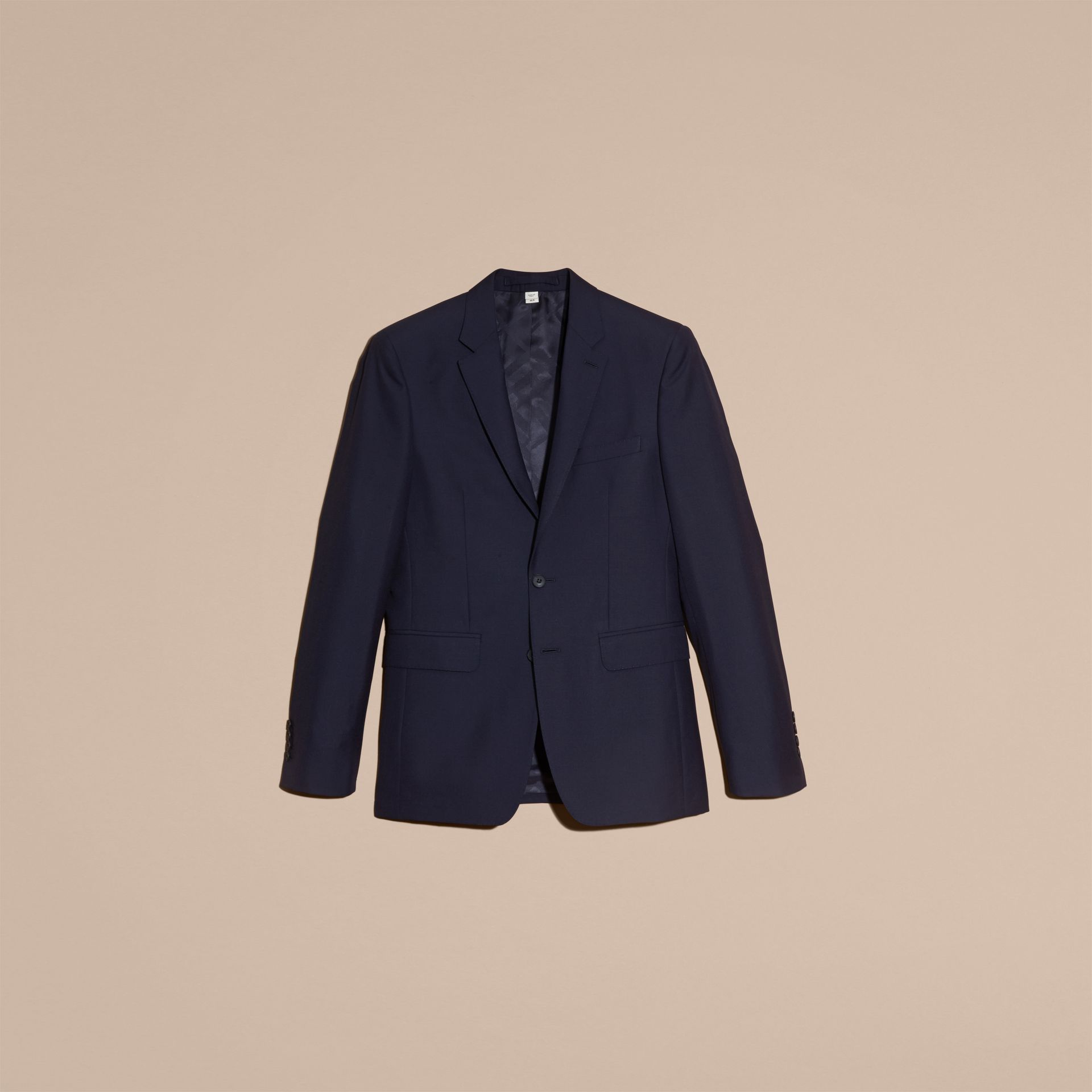 Slim Fit Wool Part-canvas Suit Navy - gallery image 4
