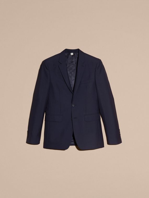 Slim Fit Wool Part-canvas Suit in Navy - Men | Burberry Hong Kong - cell image 3