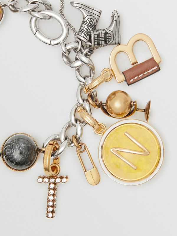 Leather-wrapped 'N' Alphabet Charm in Light Gold/tan - Women | Burberry United Kingdom - cell image 2