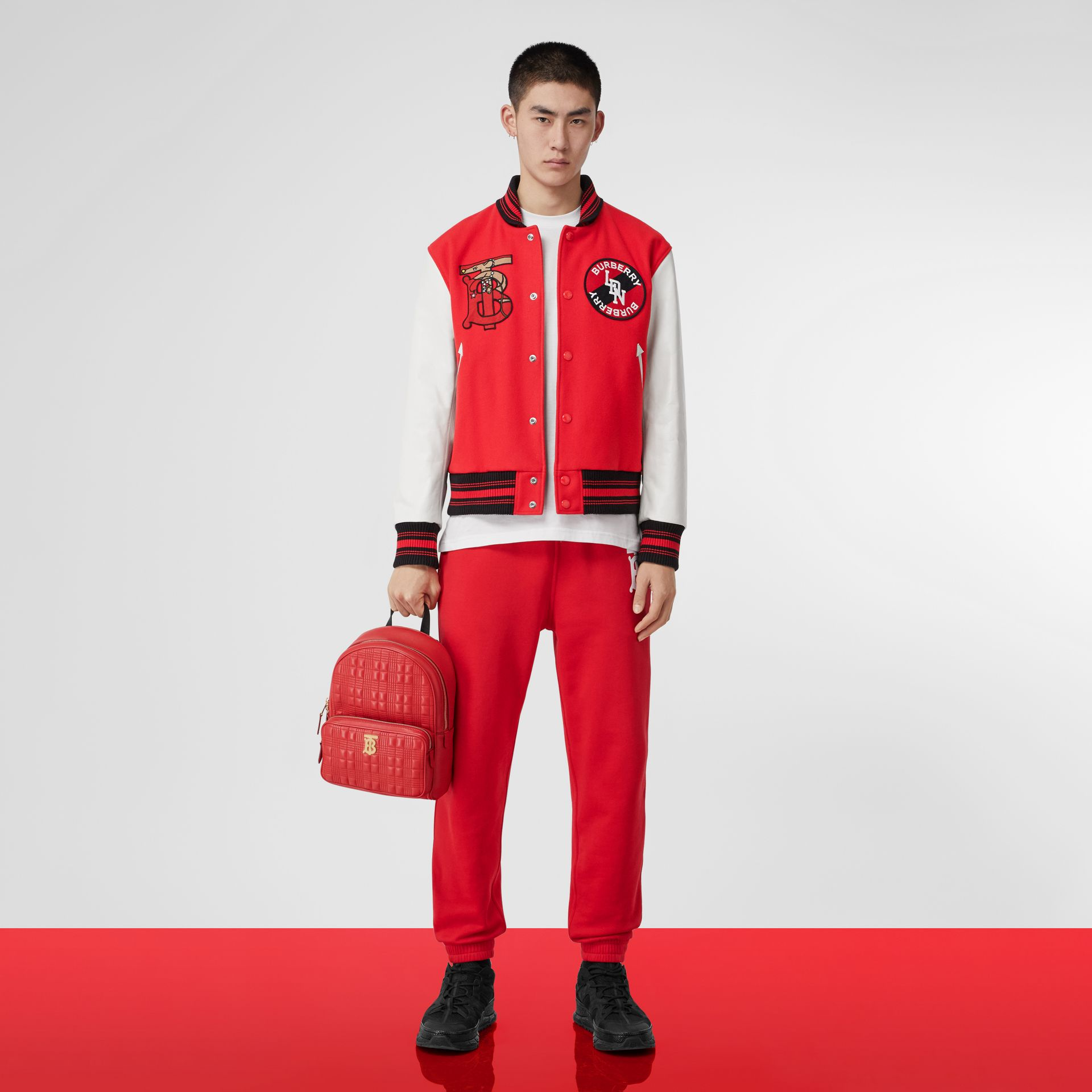 Quilted Lambskin Backpack in Bright Red | Burberry - gallery image 10