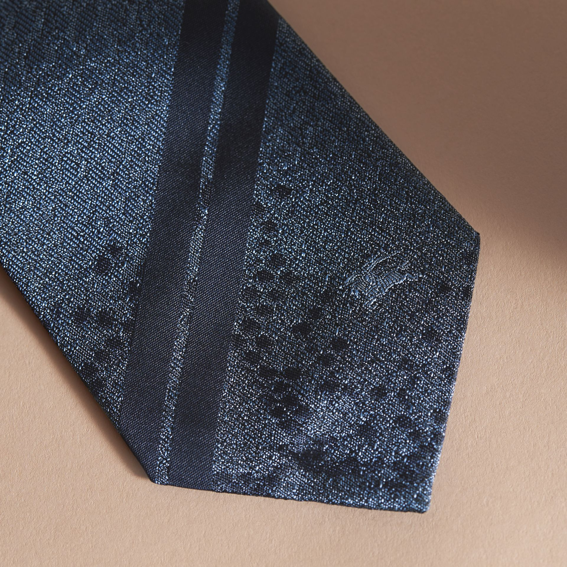 Modern Cut Python Jacquard Silk Tie Mineral Blue - gallery image 2