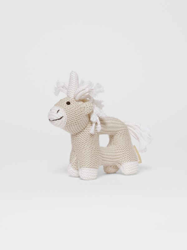 Unicorn Wool Silk Rattle in Oatmeal Melange - Children | Burberry United Kingdom - cell image 3