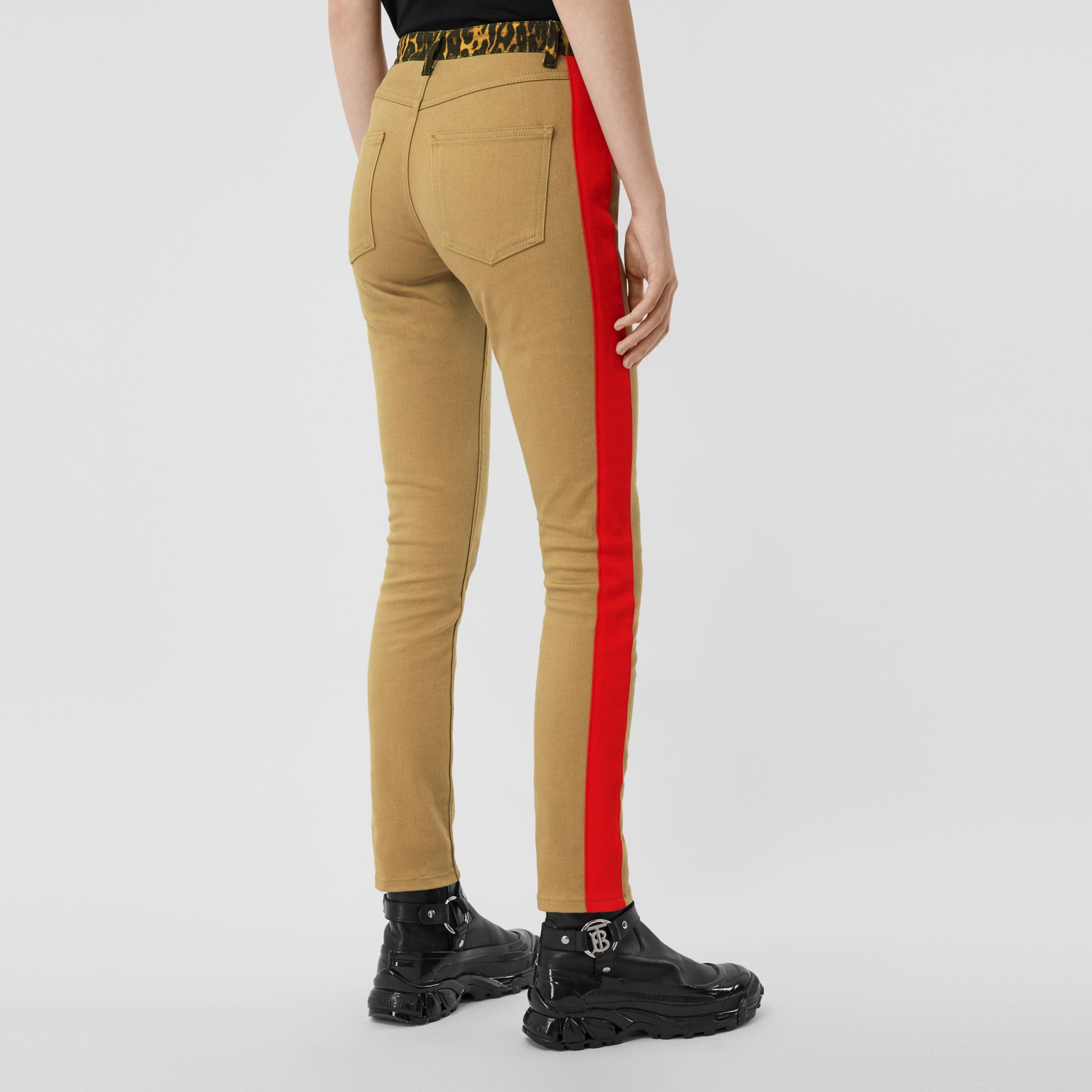 Skinny Fit Leopard Print Trim Japanese Denim Jeans in Rich Olive - Women | Burberry - gallery image 2