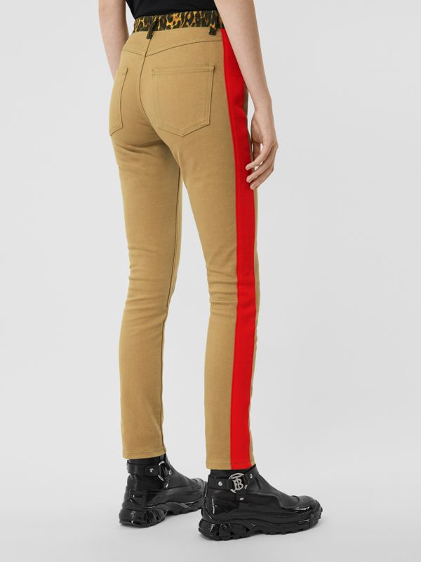 Skinny Fit Leopard Print Trim Japanese Denim Jeans in Rich Olive - Women | Burberry United Kingdom - cell image 2
