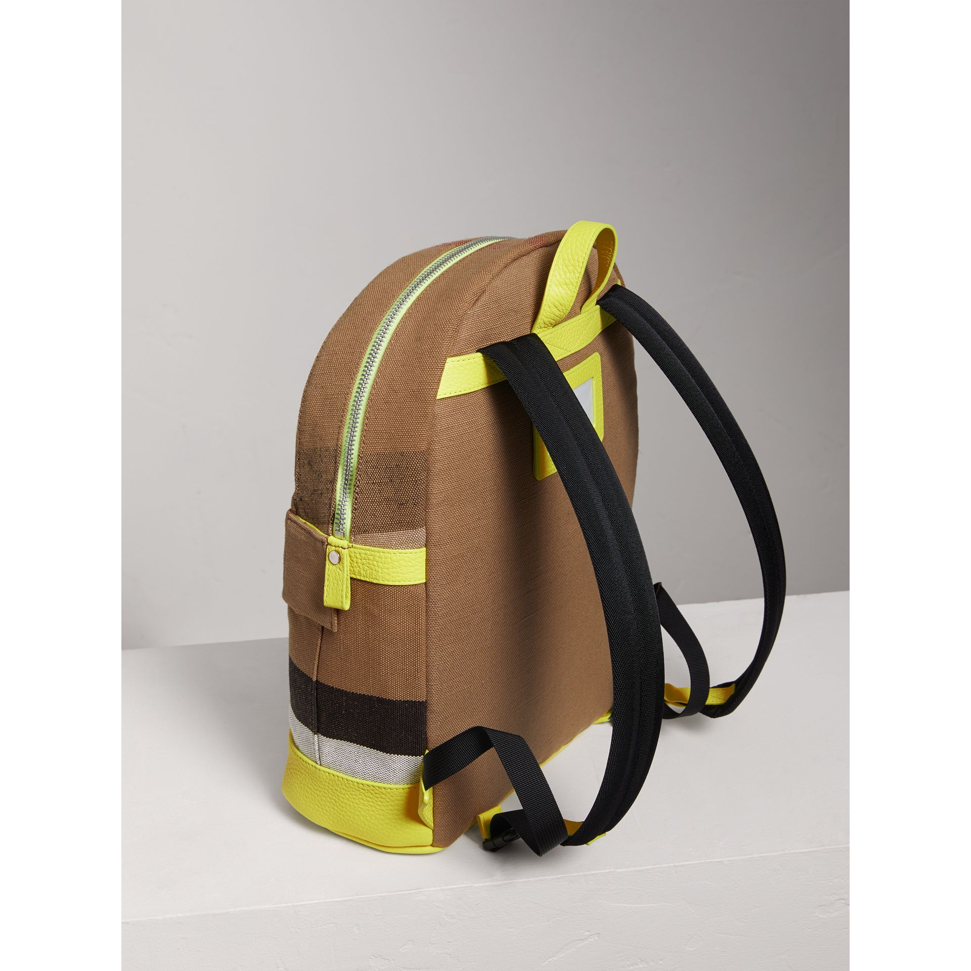 Canvas Check and Leather Backpack in Neon Yellow | Burberry - gallery image 2