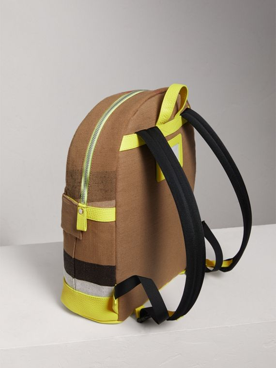Canvas Check and Leather Backpack in Neon Yellow | Burberry - cell image 2
