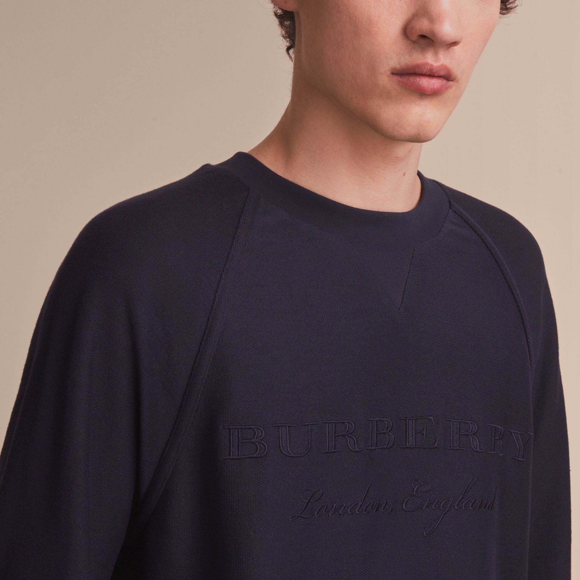 Embroidered Motif Cotton-blend Jersey Sweatshirt in Navy - Men | Burberry Australia - gallery image 5