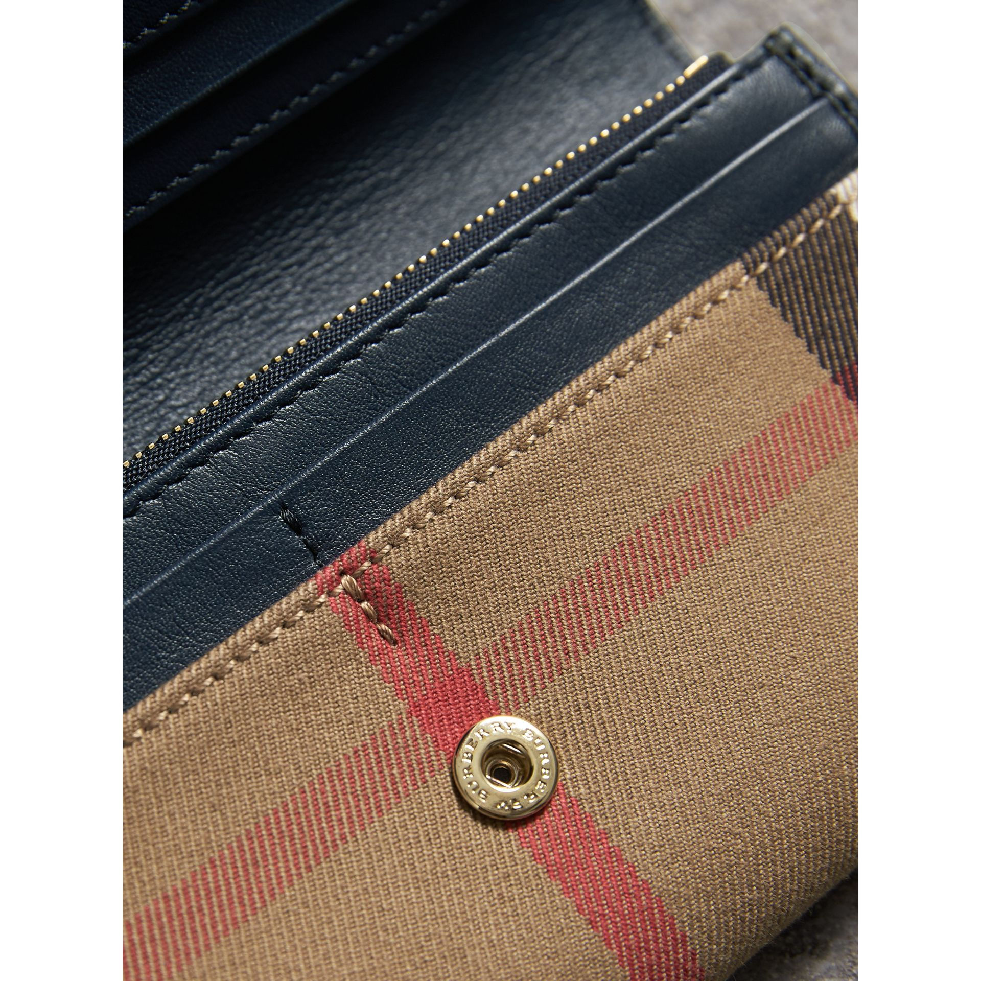 House Check And Leather Continental Wallet in Ink Blue - Women | Burberry - gallery image 5