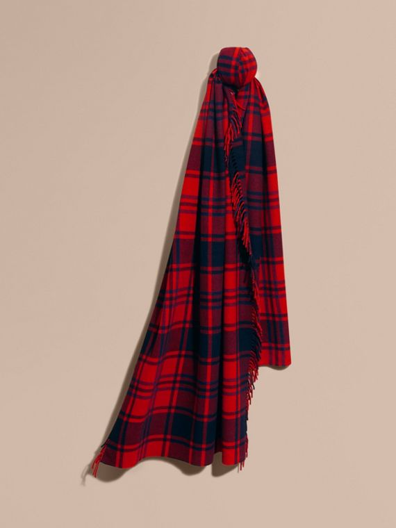 Oversize Tartan Wool Cashmere Fringe Scarf Parade Red