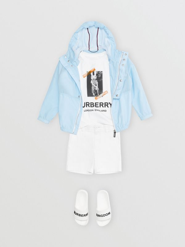 Logo Print Lightweight Hooded Jacket in Light Blue | Burberry - cell image 2