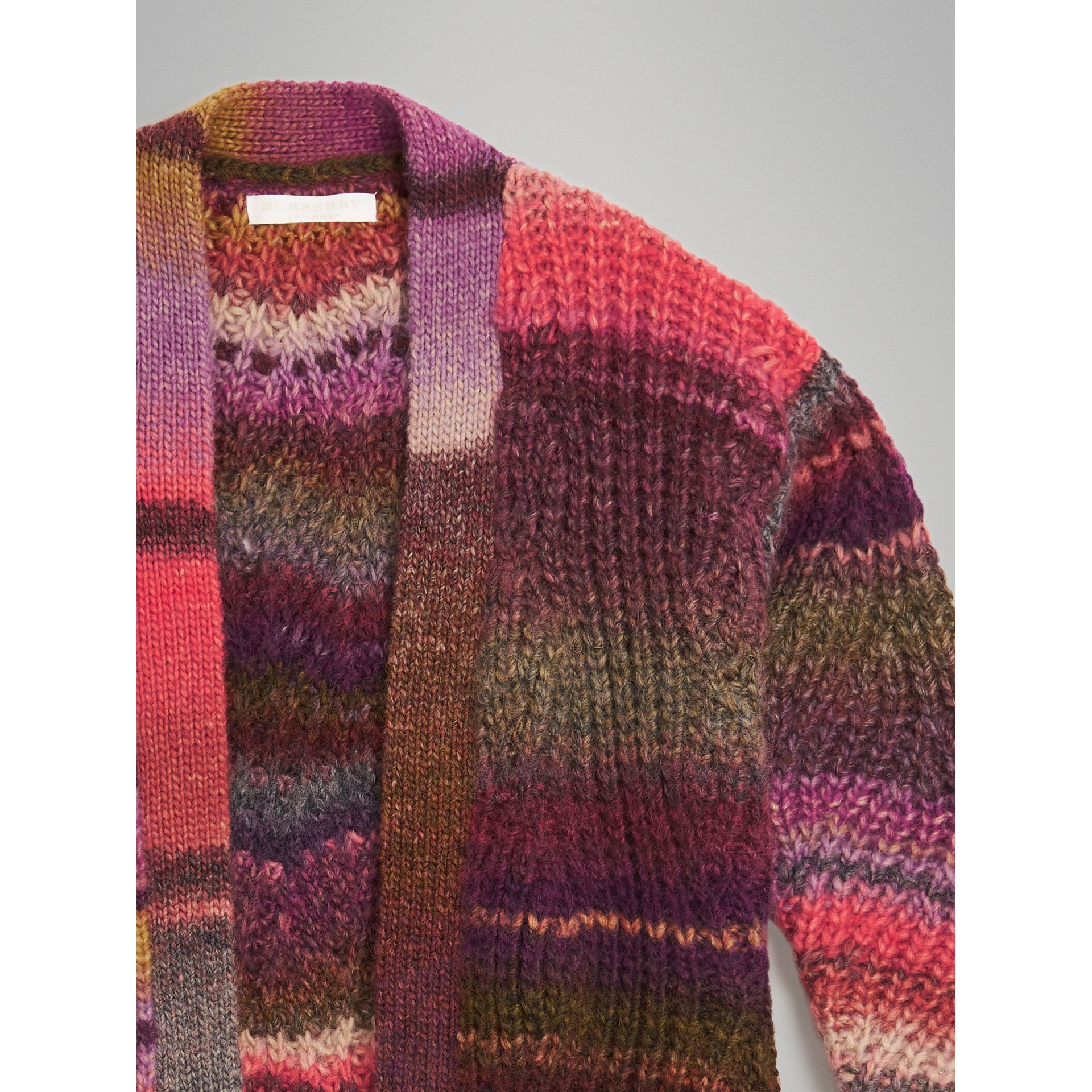 Rib Knit Wool Blend Cardigan in Multicolour | Burberry - gallery image 4