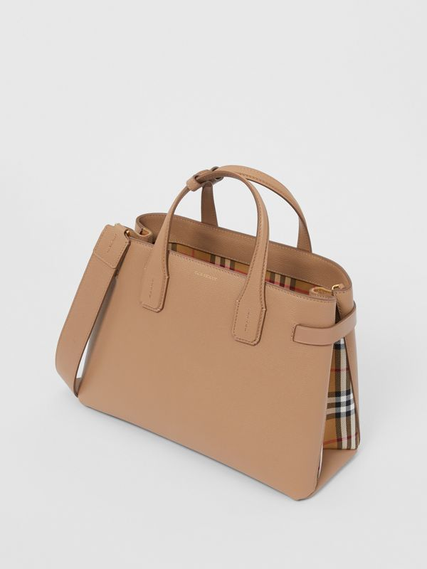 The Medium Banner in Leather and Vintage Check in Camel - Women | Burberry - cell image 3