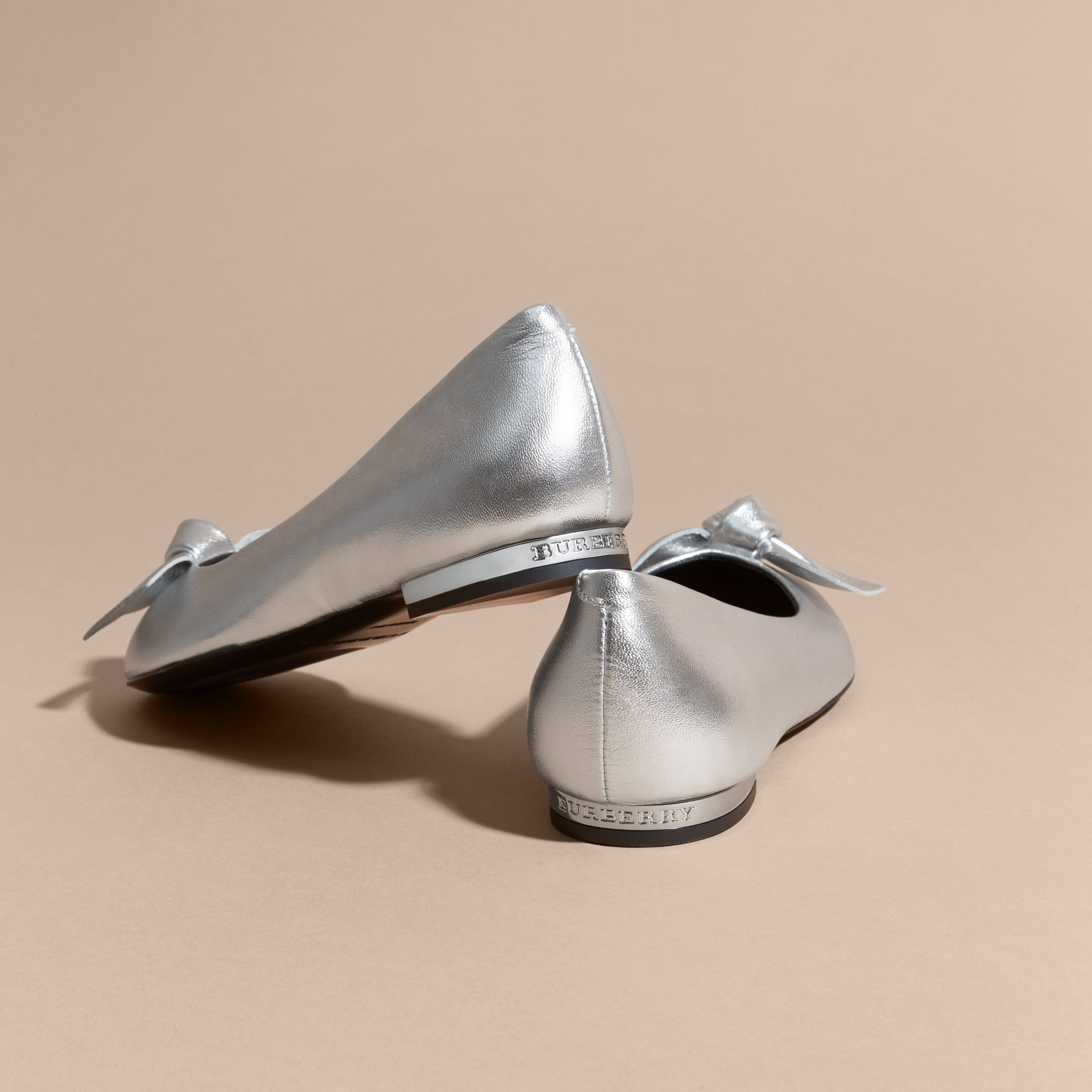 Silver Bow Detail Metallic Leather Ballerinas Silver - gallery image 4