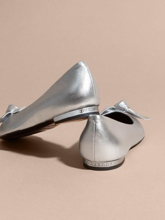 Silver Bow Detail Metallic Leather Ballerinas Silver - cell image 3