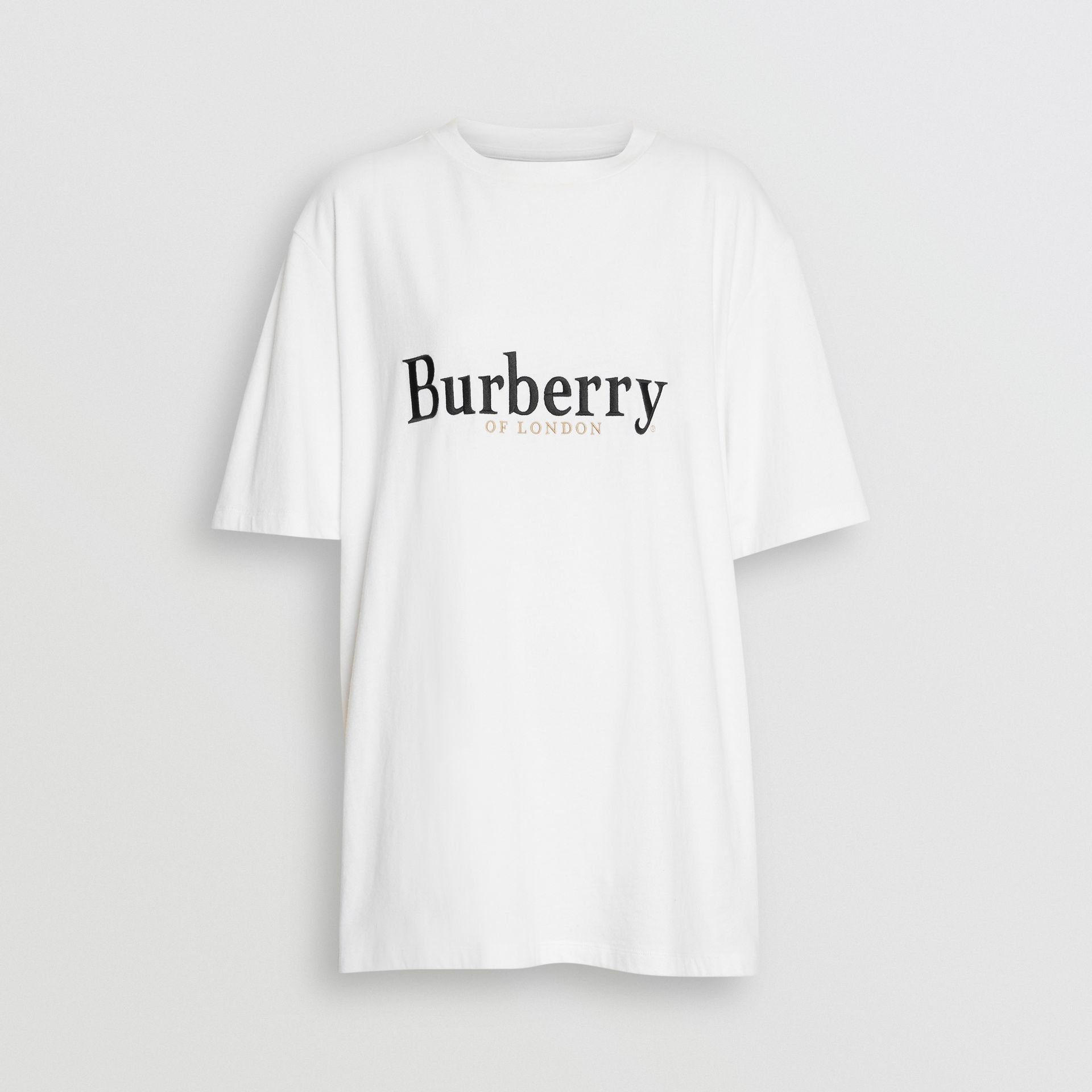Embroidered Archive Logo Cotton T-shirt in White/black - Women | Burberry - gallery image 3