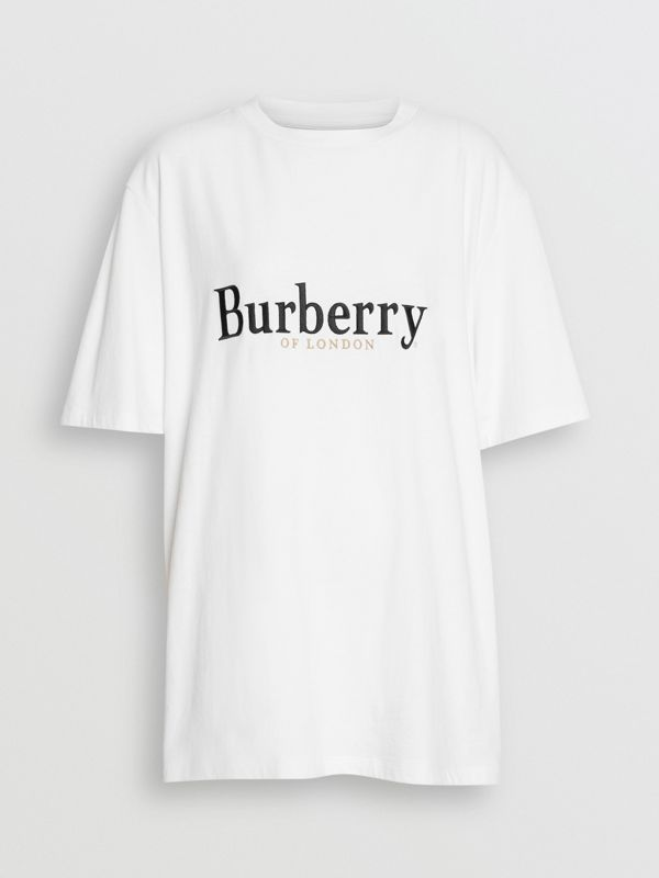 Embroidered Archive Logo Cotton T-shirt in White/black - Women | Burberry United States - cell image 3