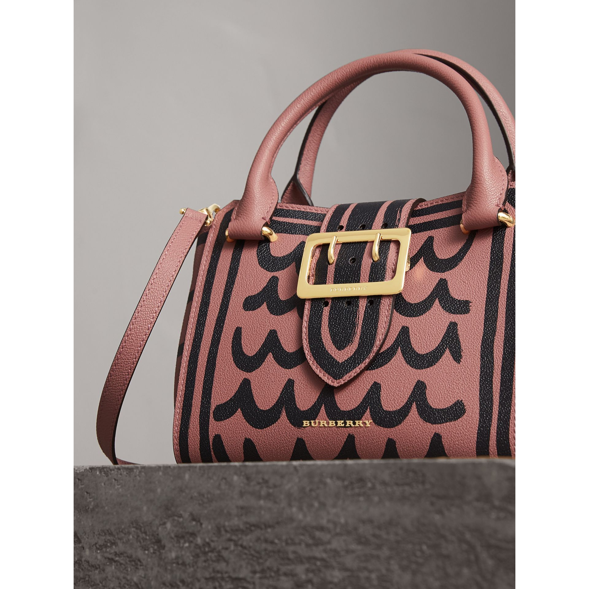 The Small Buckle Tote in Trompe L'oeil Print Leather in Dusty Pink - Women | Burberry Singapore - gallery image 7