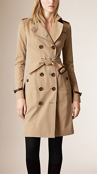 Leather Trim Cotton Gabardine Trench Coat