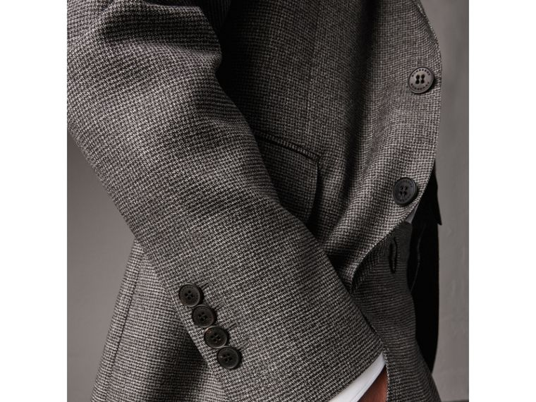 Soho Fit Houndstooth Check Wool Suit in Dark Grey Melange - Men | Burberry - cell image 4