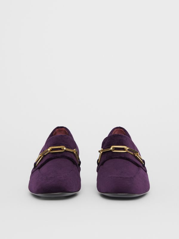 Link Detail Velvet Block-heel Loafers in Dark Elderberry - Women | Burberry - cell image 3