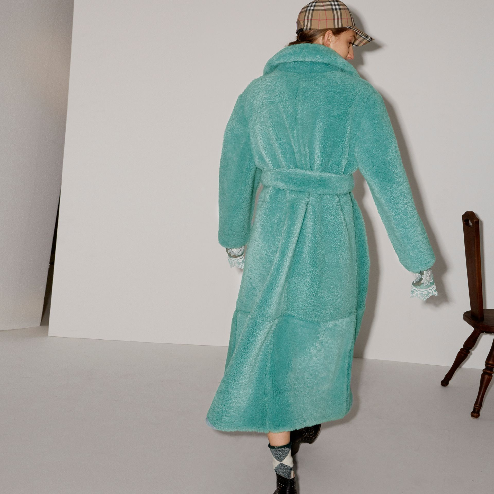 Shearling Oversized Coat in Turquoise - Women | Burberry - gallery image 2