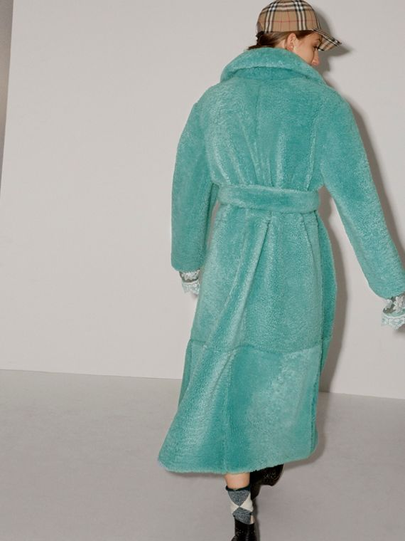 Shearling Oversized Coat in Turquoise - Women | Burberry United Kingdom - cell image 2
