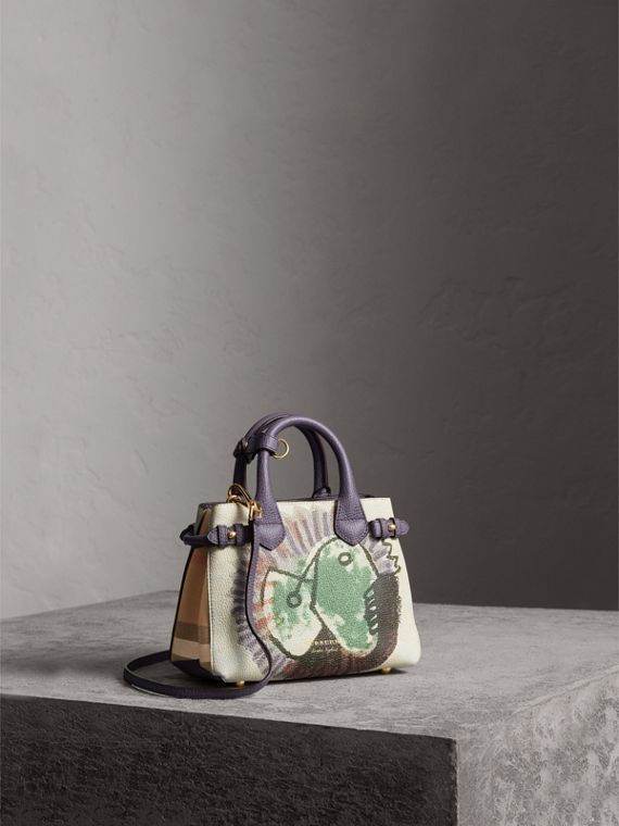 The Baby Banner in Leather with Pallas Heads Print in Dusty Violet - Women | Burberry Singapore