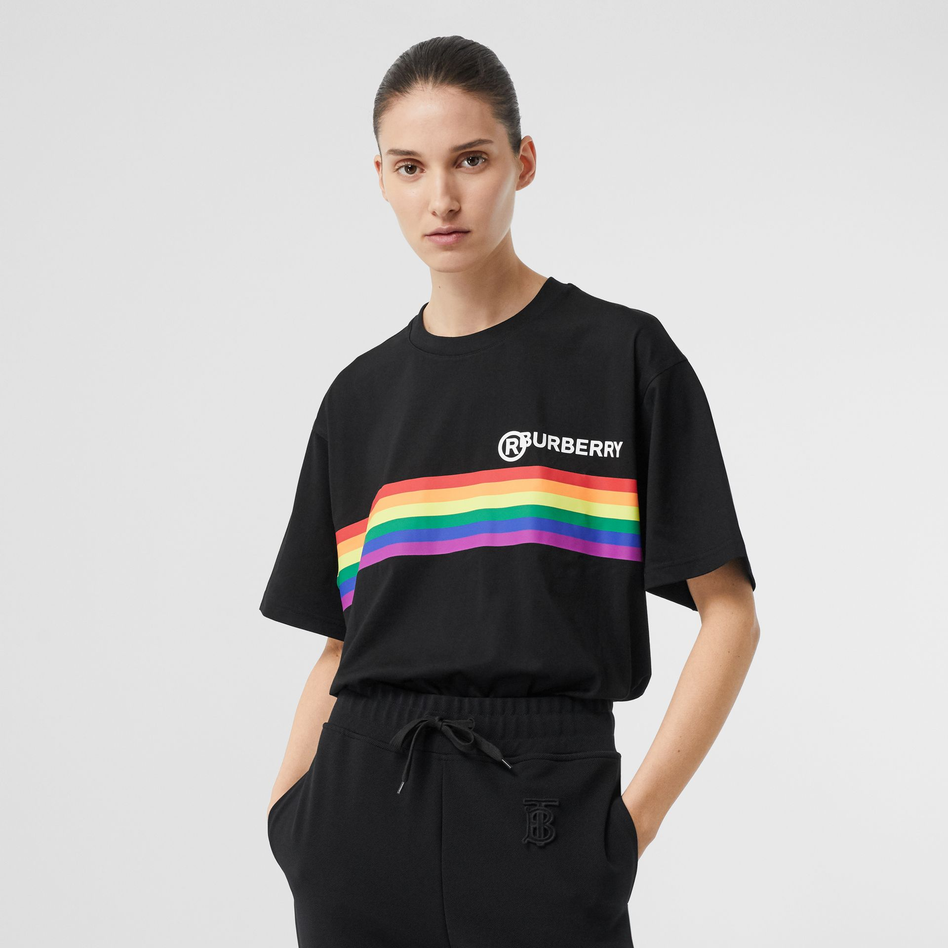Rainbow Stripe Print Cotton Oversized T-shirt in Black - Women | Burberry United Kingdom - gallery image 4