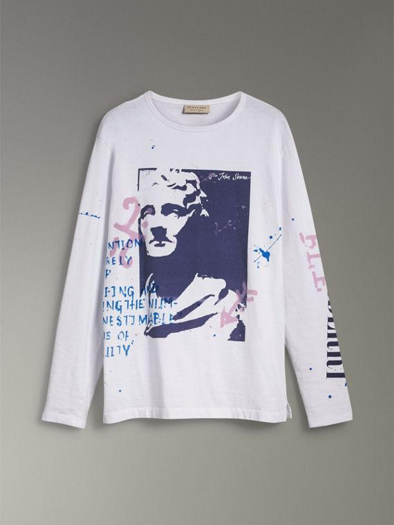 Portrait Print Cotton Top in Optic White - Men | Burberry United Kingdom - cell image 3