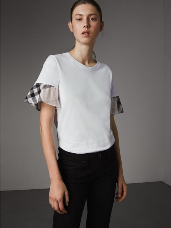 Flared-sleeve Check Detail Cotton T-shirt in White - Women | Burberry Australia