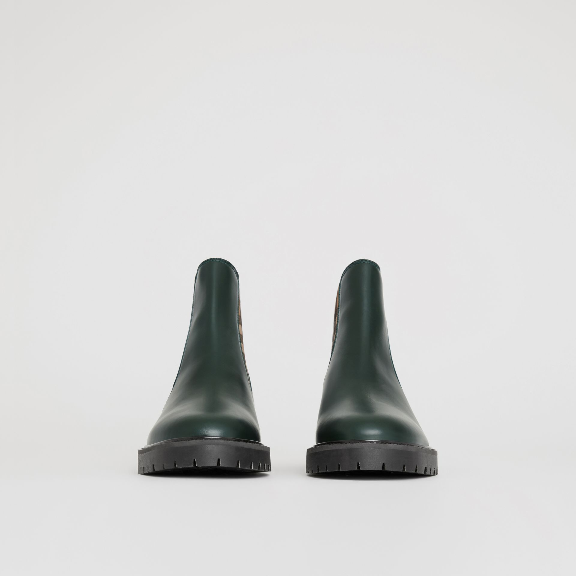 Vintage Check Detail Leather Chelsea Boots in Bottle Green - Women | Burberry - gallery image 3