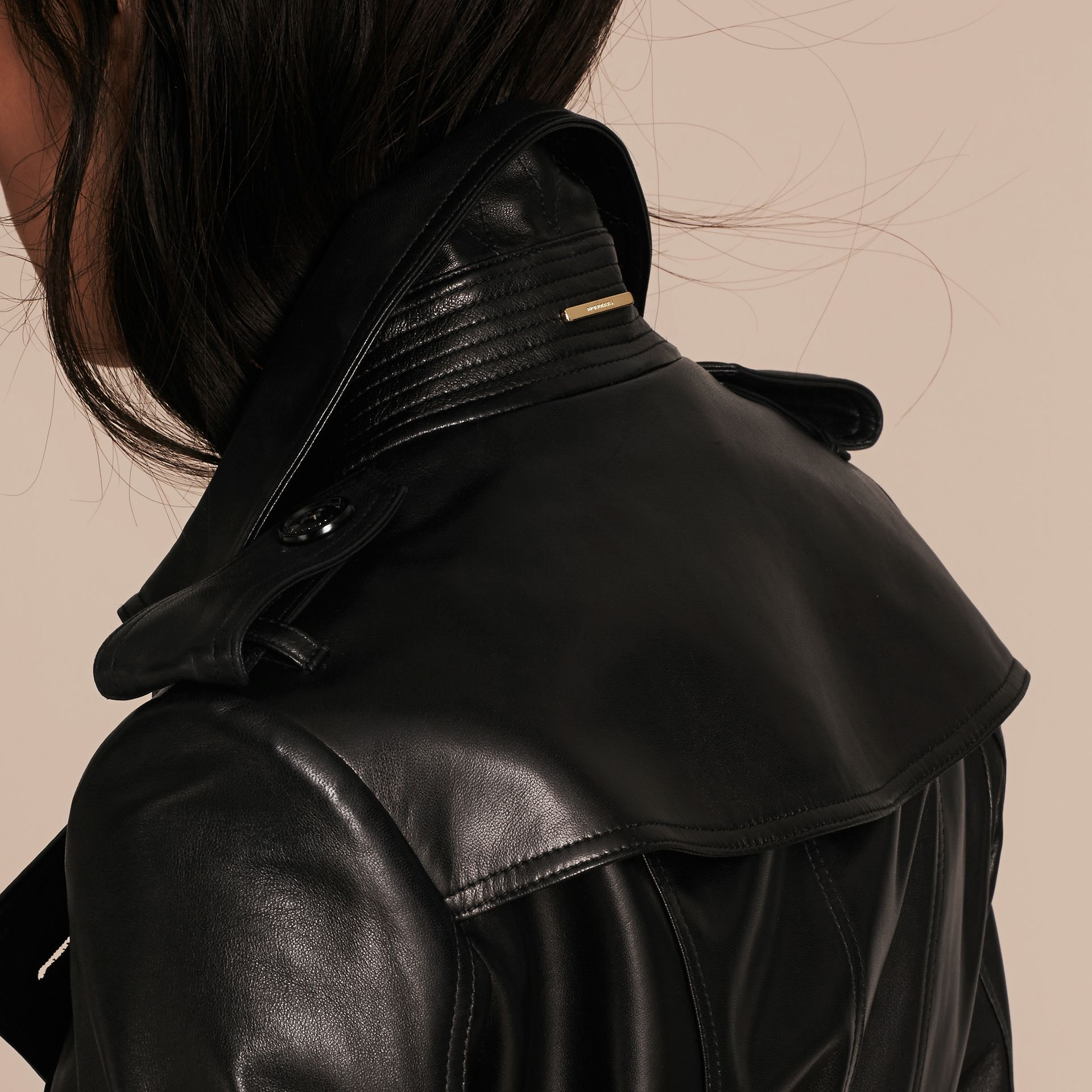 Black Lambksin Trench Jacket - gallery image 7