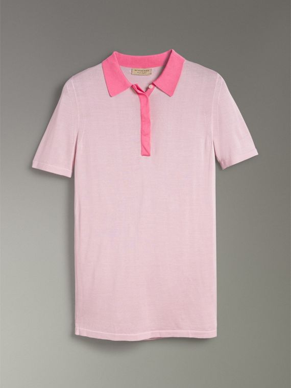 Contrast Collar Silk Cashmere Polo Shirt in Pale Lilac - Women | Burberry Australia - cell image 3