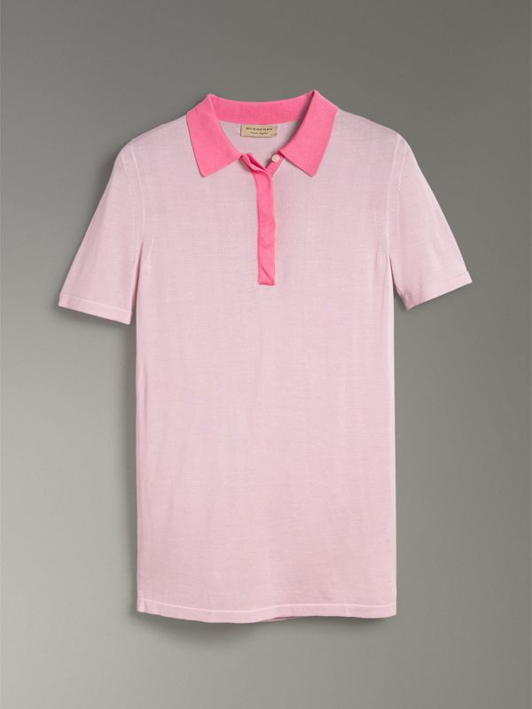 Contrast Collar Silk Cashmere Polo Shirt in Pale Lilac - Women | Burberry United Kingdom - cell image 3