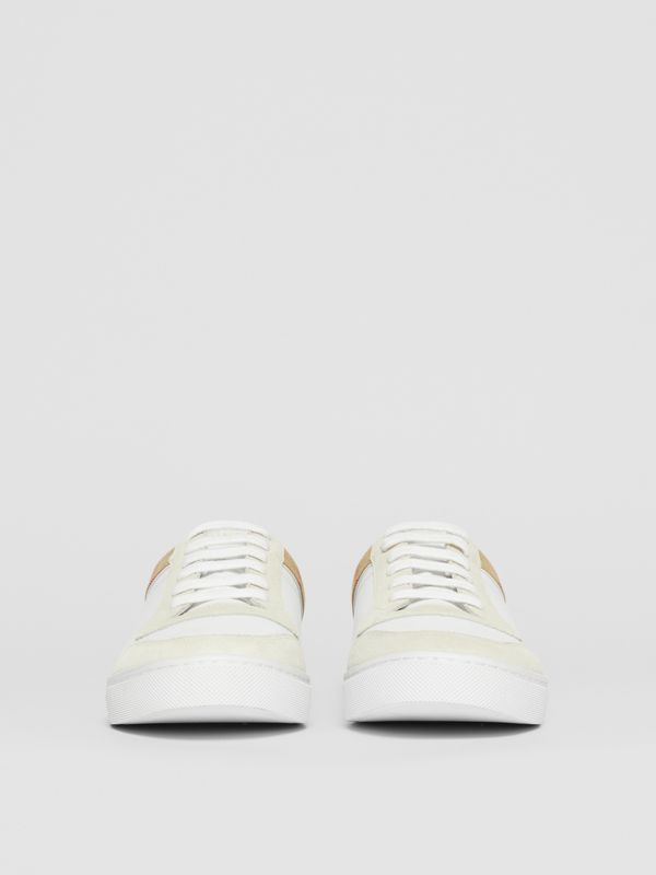 Leather, Suede and House Check Sneakers in Optic White - Men | Burberry United Kingdom - cell image 3