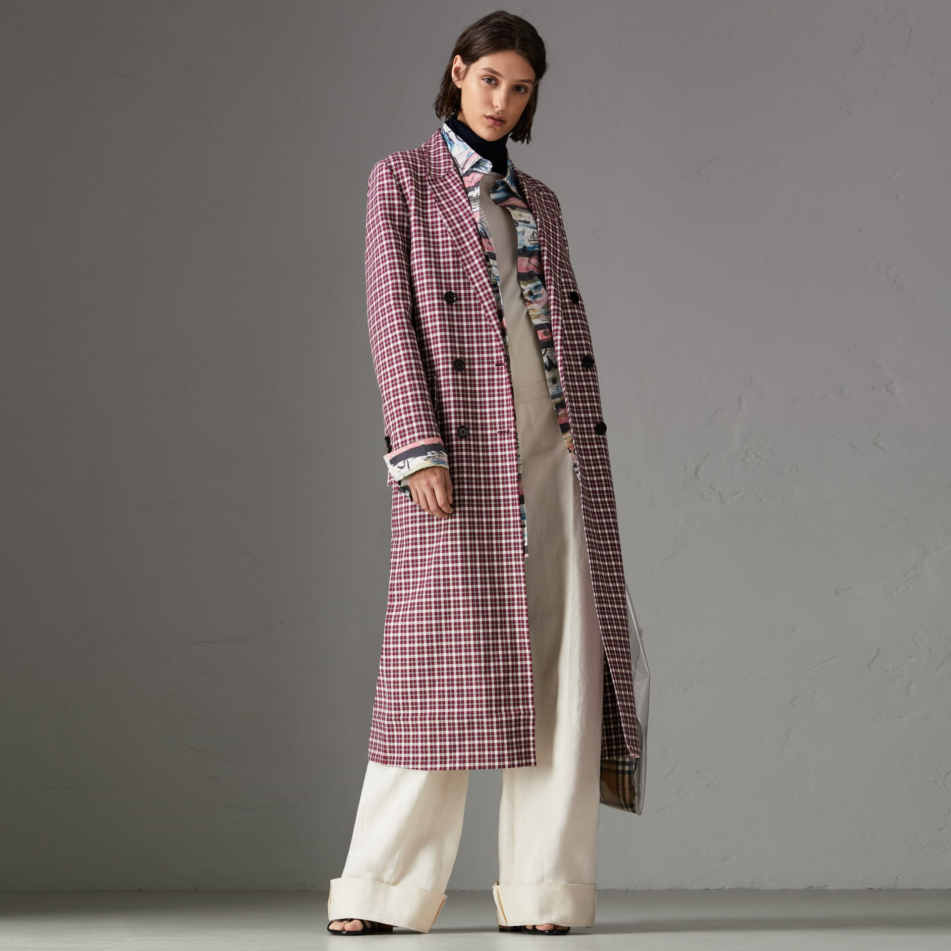 Double-faced Cotton Twill Tailored Coat in Burgundy - Women | Burberry - gallery image 0