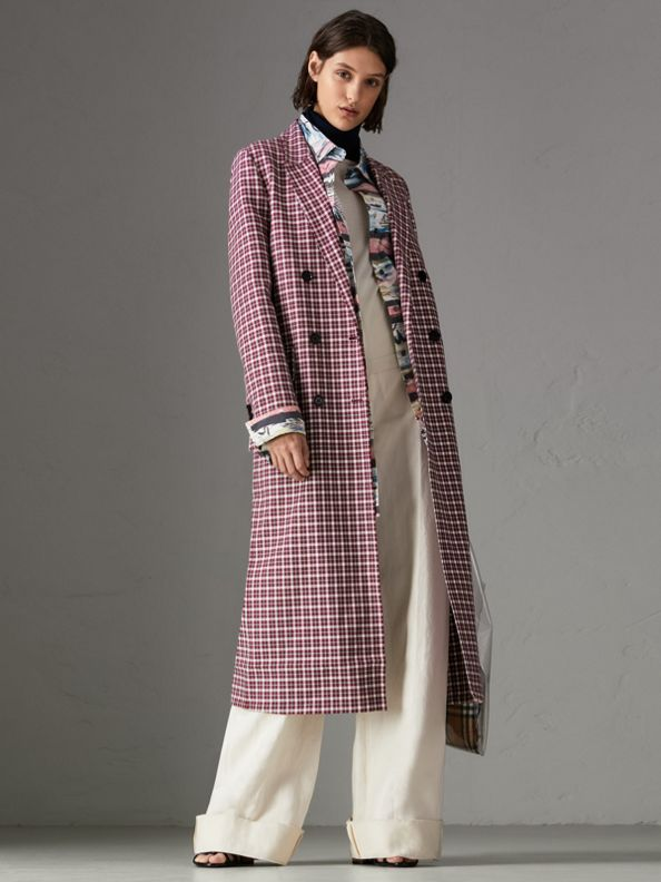Double-faced Cotton Twill Tailored Coat in Burgundy