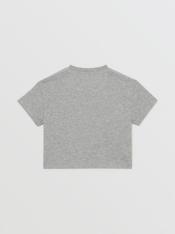 Logo Print Cotton T-shirt in Grey Melange - Children | Burberry - cell image 3