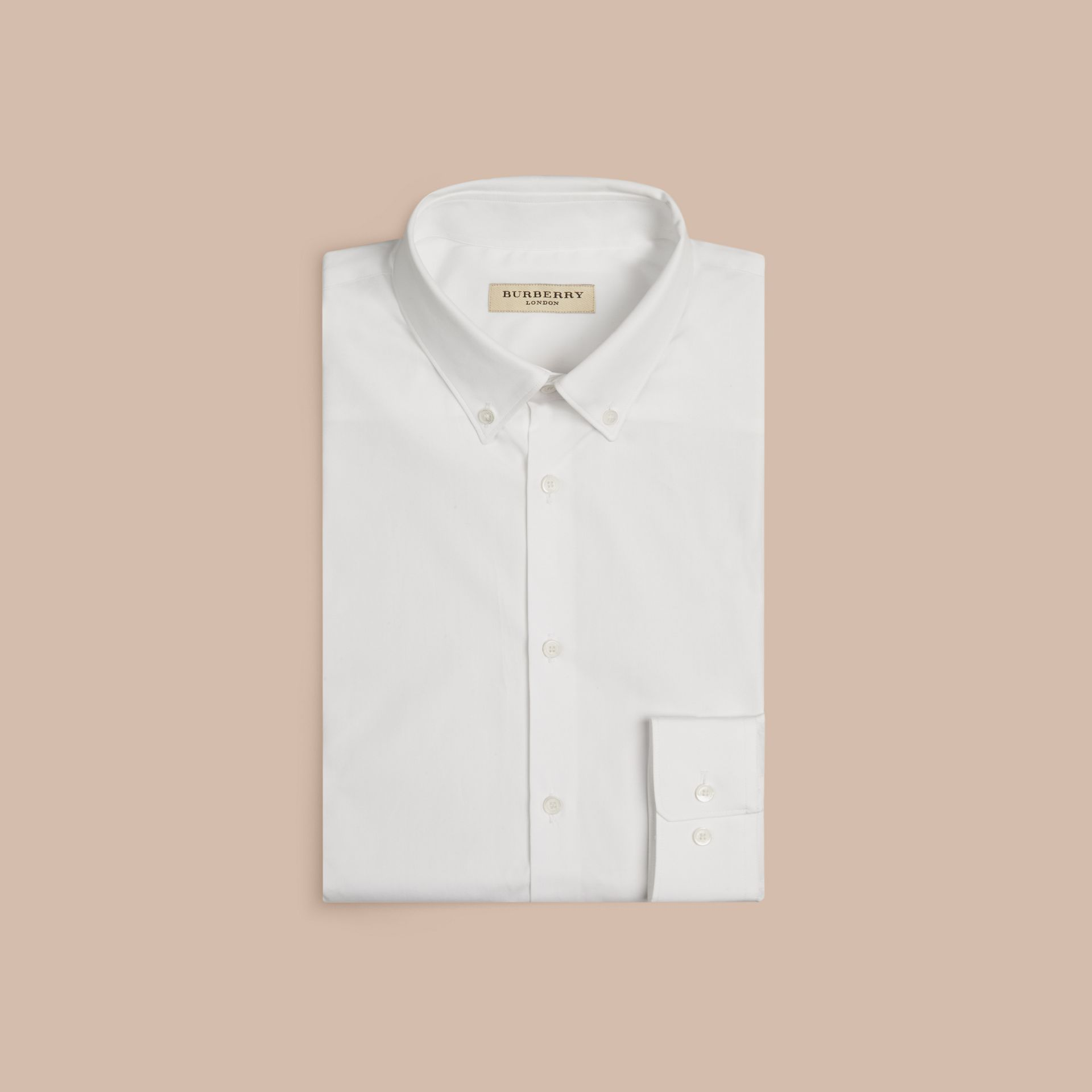 White Slim Fit Button-down Collar Cotton Poplin Shirt - gallery image 4