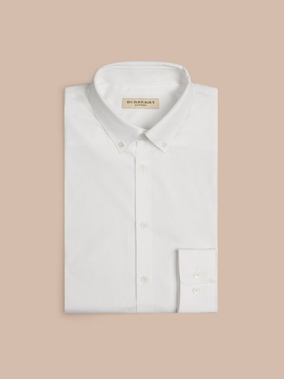 White Slim Fit Button-down Collar Cotton Poplin Shirt - cell image 3