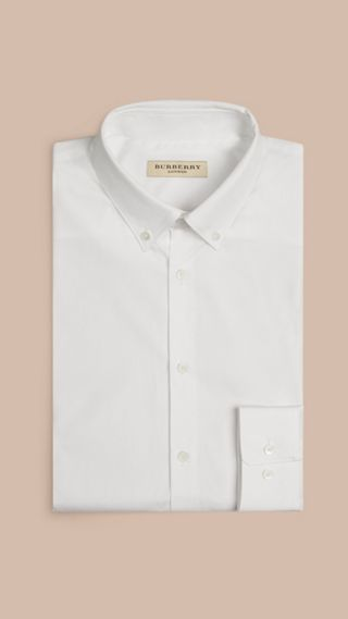 Slim Fit Button-down Collar Cotton Poplin Shirt