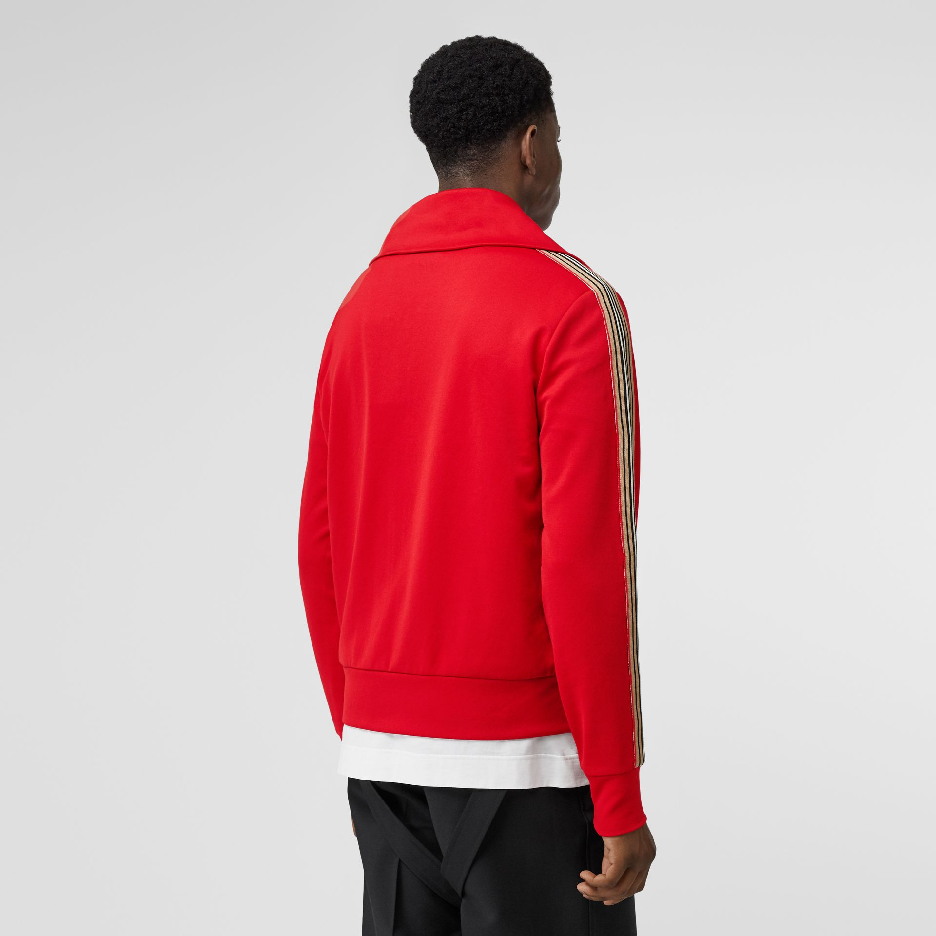 Icon Stripe Detail Funnel Neck Track Top in Bright Red - Men | Burberry - gallery image 2
