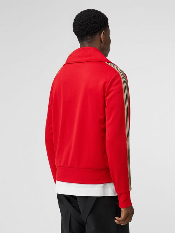 Icon Stripe Detail Funnel Neck Track Top in Bright Red - Men | Burberry - cell image 1