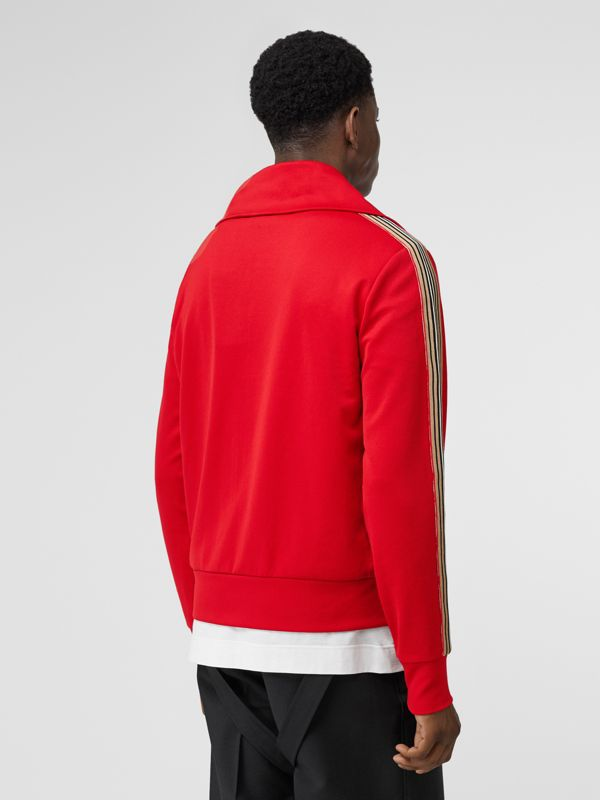 Icon Stripe Detail Funnel Neck Track Top in Bright Red - Men | Burberry - cell image 2