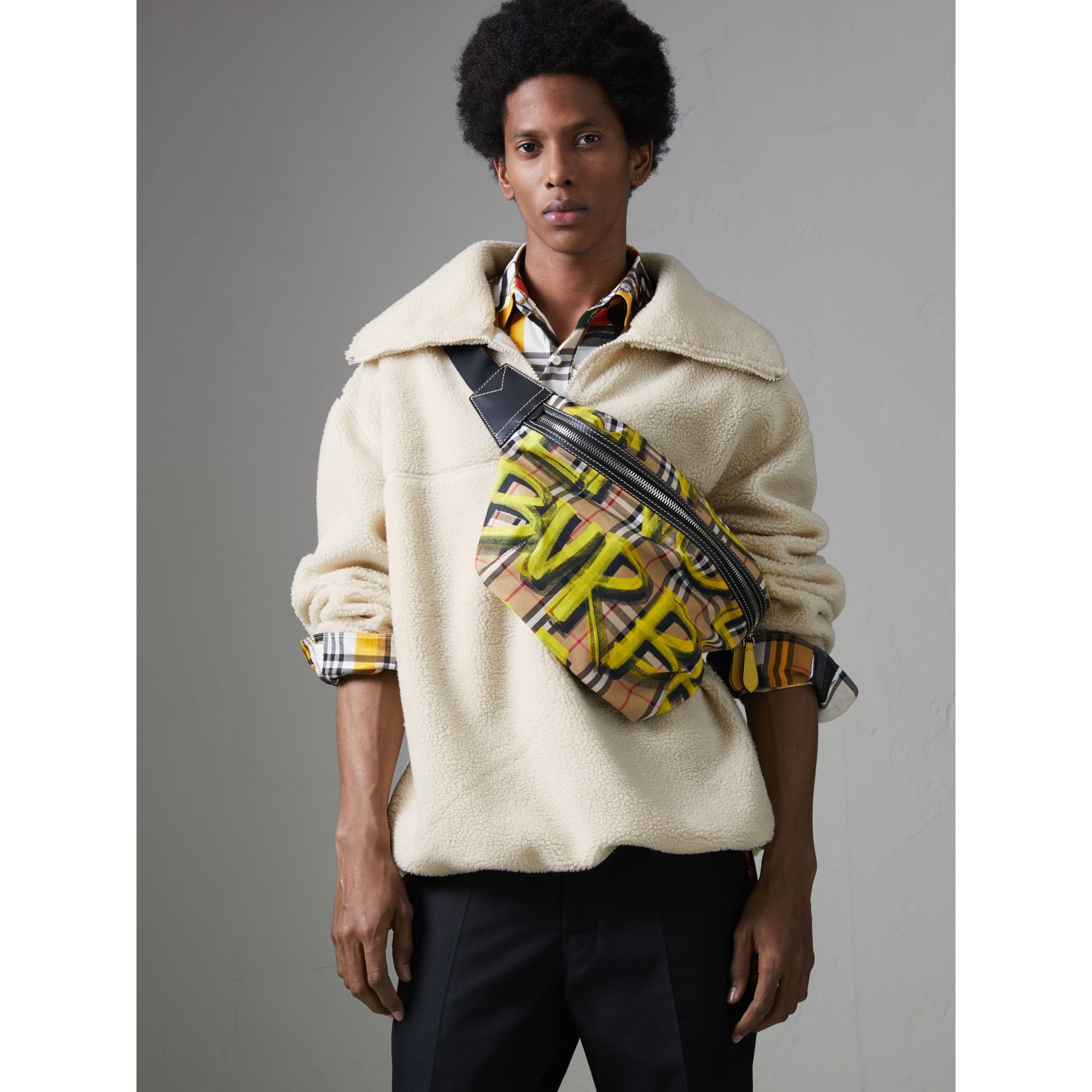 Large Graffiti Print Vintage Check and Leather Bum Bag in Bright Yellow/antique Yellow - Men | Burberry United States - gallery image 3