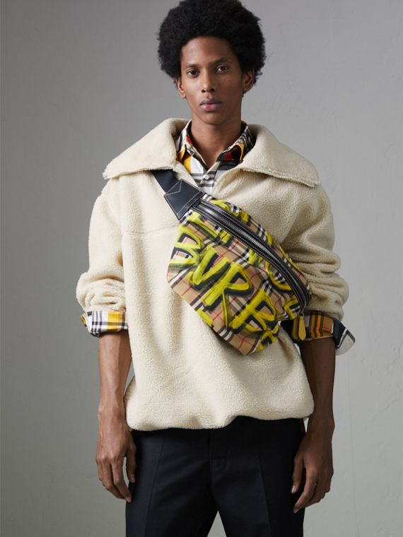 Large Graffiti Print Vintage Check and Leather Bum Bag in Bright Yellow/antique Yellow - Men | Burberry United States - cell image 3