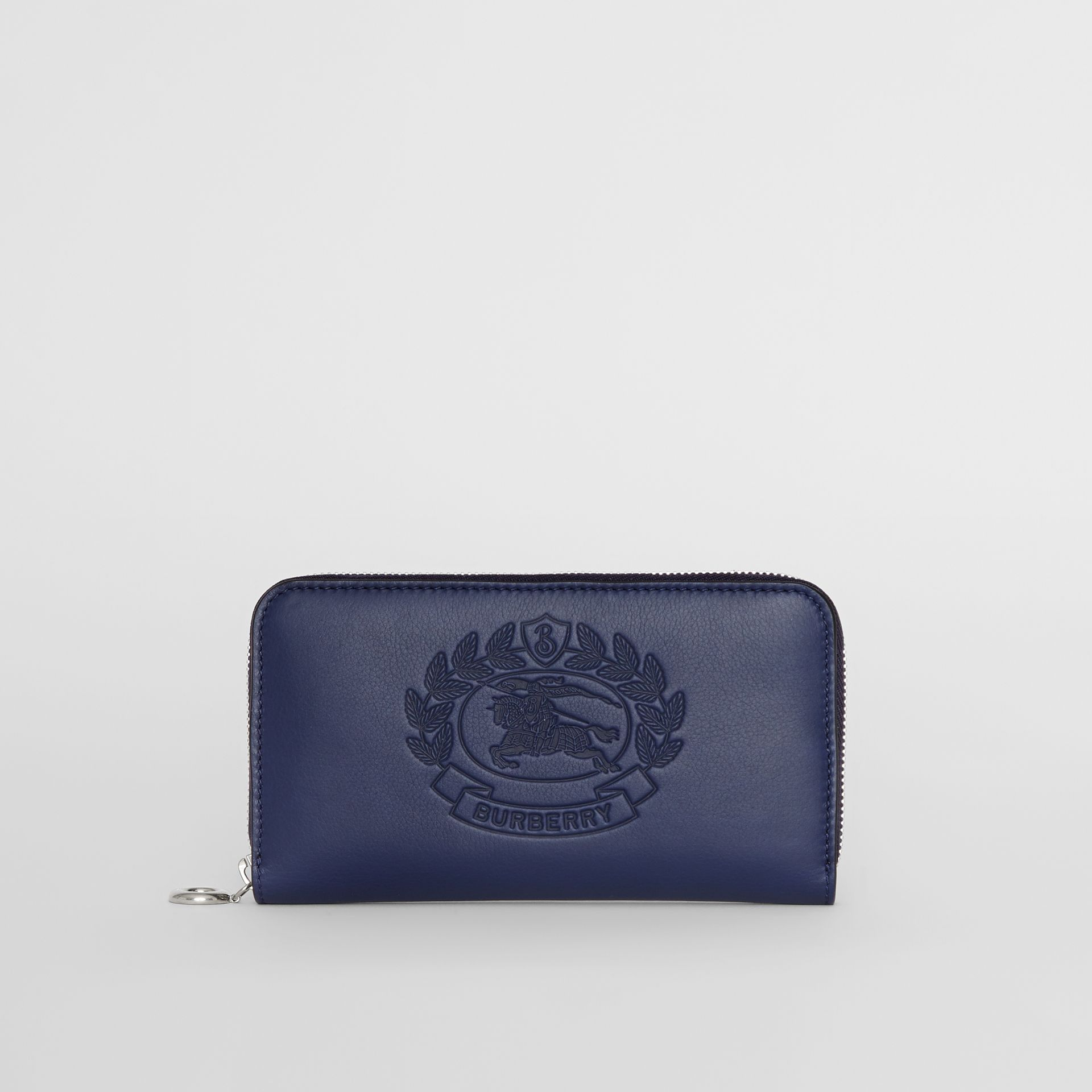 Embossed Crest Two-tone Leather Ziparound Wallet in Regency Blue - Women | Burberry - gallery image 0